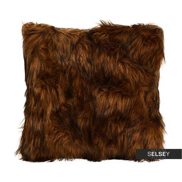 Kissenbezug mit FELL dunkelbraun 45x45 cm