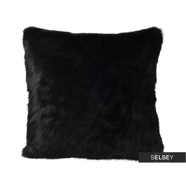 Sofakissen mit FELL schwarz 45x45 cm