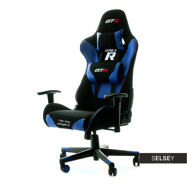 Drehstuhl RACER GTR mit Rückenkissen für Gamer schwarz/blau