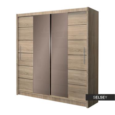 Kleiderschrank URANIA mit getöntem Spiegel 203 cm