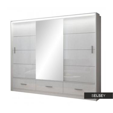 Kleiderschrank FYLDE 255 cm in Hochglanz mit Spiegel und LED-Beleuchtung