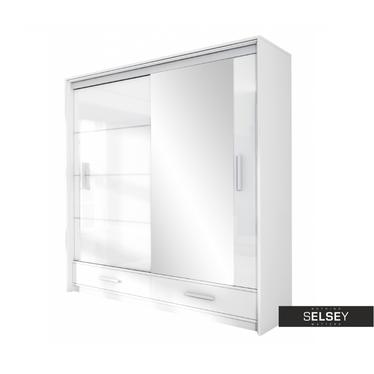 Kleiderschrank FYLDE 208 cm in Hochglanz mit Spiegel und LED-Beleuchtung