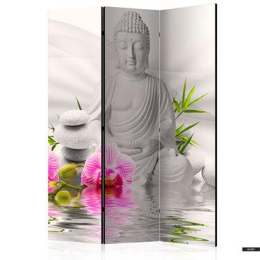 Paravent BUDDHA MIT ORCHIDEE (3-teilig)