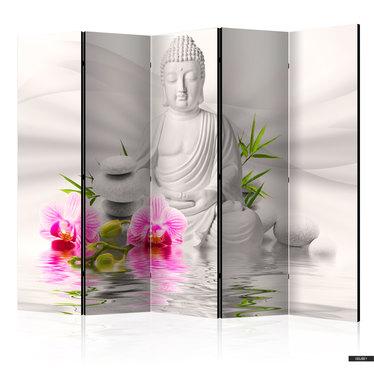 Paravent BUDDHA MIT ORCHIDEE (5-teilig)