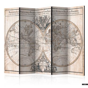 Paravent MAPPE-MONDE GEO-HYDROGRAPHIQUE (5-teilig)