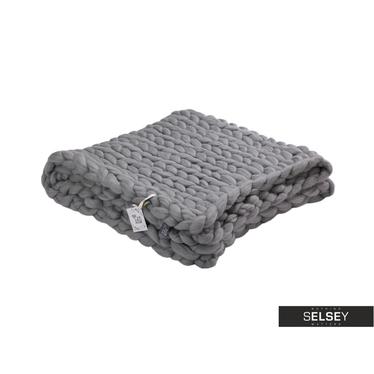 Decke MERINO taubengrau aus Kammwolle