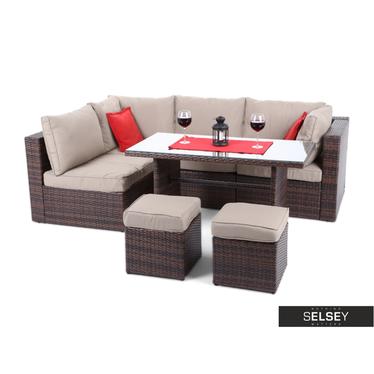 Outdoor-Sofa MILANO DINNER mit Tisch, braun