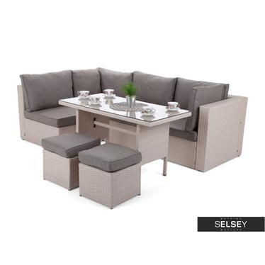 Outdoor-Sofa MILANO DINNER mit Tisch, beige
