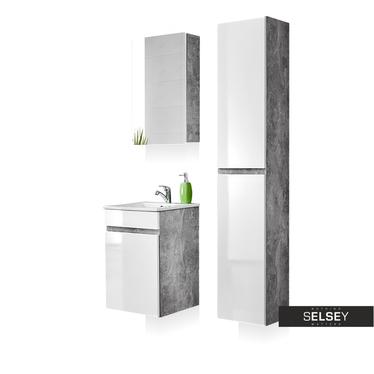 Badmöbel-Set PUEBLA Beton/weiß Hochglanz mit 1 Schublade