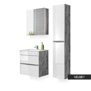 Badmöbel-Set PUEBLA Beton/weiß Hochglanz mit 2 Schubladen