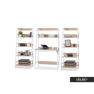 Schreibtisch-Set BERG mit 2 Regalen weiß/Sonoma Eiche