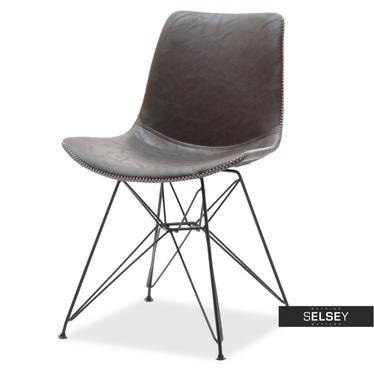 Stuhl COMBO braun Kunstleder mit Stahlfüßen im Vintage-Style