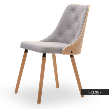 Stuhl DERMAST Buche/grau mit Steppung