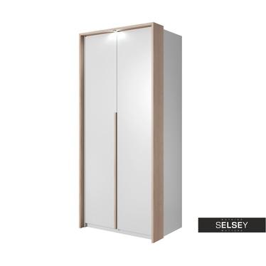Kleiderschrank GREJS weiß/Eiche 2-türig mit LED