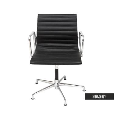 Drehstuhl im Stil EAMES 108 schwarz mit Lederbezug
