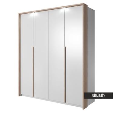 Kleiderschrank GREJS Falttürenschrank mit Innenschubladen und LED