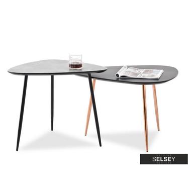 Beistelltisch-Set ROSIN schwarz/Kupfer 68x65 cm und Betonoptik/schwarz 59x56 cm