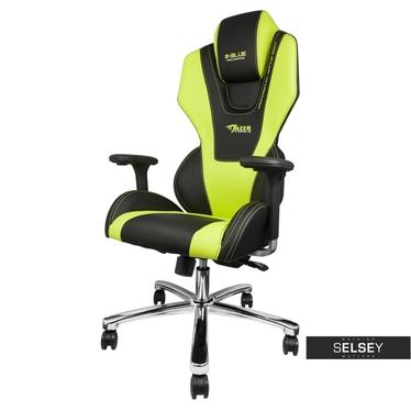 Gaming Stuhl E-BLUE MAZER schwarz/grün mit 4D-Armlehnen