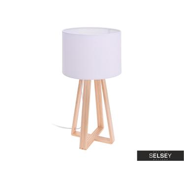 Tischlampe mit hölzernem Standfuß 47 cm