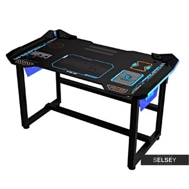 Schreibtisch für Gamer E-BLUE schwarz mit LED und ergonomischer Tischplatte