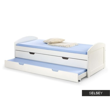 Ausziehbett PITT weiß mit 2 Schlafplätzen und Schubkasten