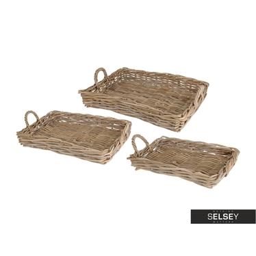 Tablett-Set aus Weidenkörben (3-teilig)
