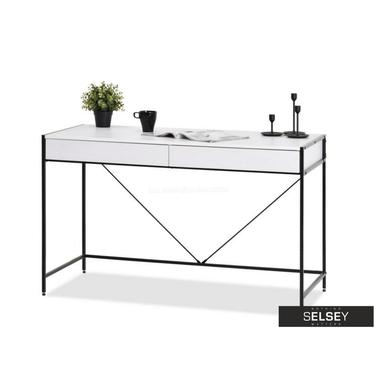 Schreibtisch UNIF mit Schubladen und Stahlgestell schwarz-weiß