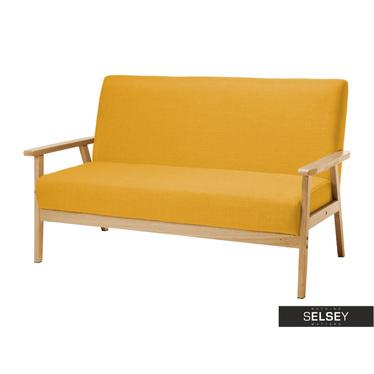 Sofa TRAVIS gelb mit hölzernen Armlehnen