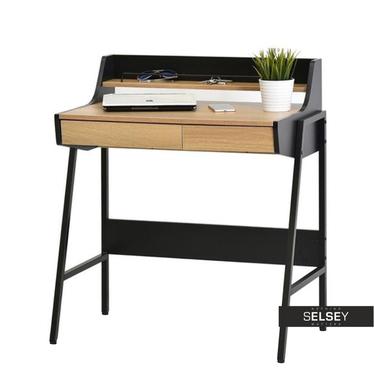 Schreibtisch BORR schwarz/Eiche mit Buchstütze und 2 Schubladen
