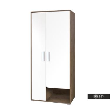 Kleiderschrank JALIME Holzoptik/weiß 2-türig