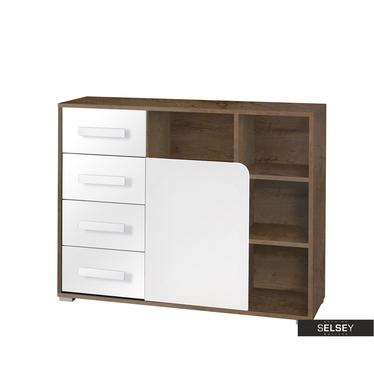 Sideboard JALIME Holzoptik/weiß mit 4 Schubladen