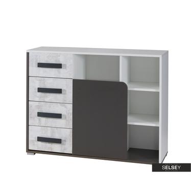 Sideboard JALIME weiß/grau mit 4 Schubladen