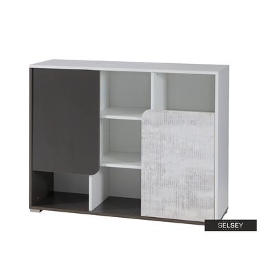 Sideboard JALIME weiß/grau 2-türig