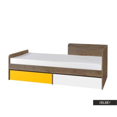Kinderbett JALIME Eiche/weiß/gelb mit 2 Schubladen
