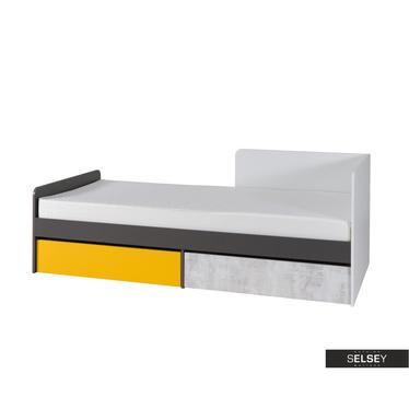 Kinderbett JALIME weiß/grau/gelb mit 2 Schubladen