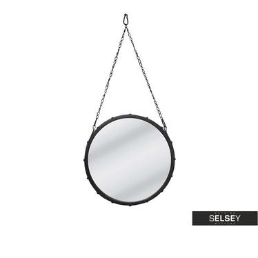 Spiegel mit Kette CAPTAIN'S MIRROR schwarz 39 cm