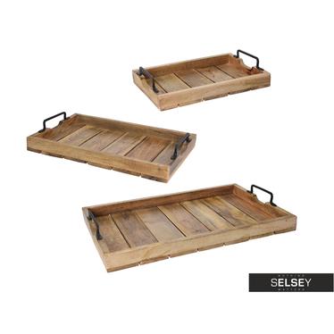 Serviertablett NATURE 3er-Set aus Holz mit Metallgriffen