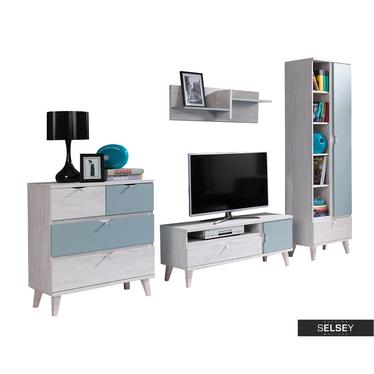 Möbel-Set ABRA CADABRA hellblau mit 1-türigem Regal