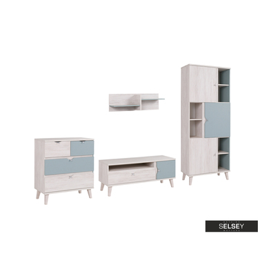 Möbel-Set ABRA CADABRA hellblau mit 3-türigem Regal