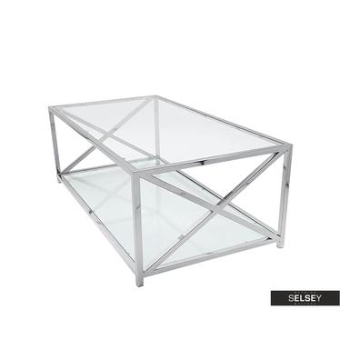 Beistelltisch OZGAR Stahl und Glas 120x70 cm