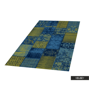 Teppich BASAL PATCHWORK I grün/dunkelblau