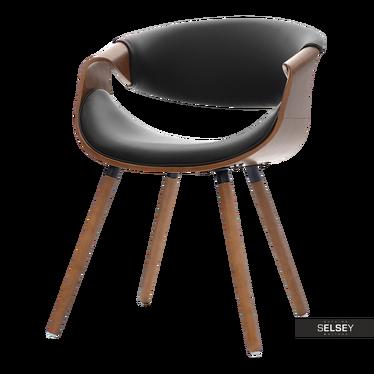 Stuhl BENT Nussbaum/schwarz Kunstlederbezug