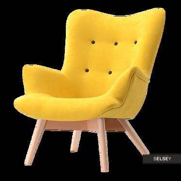 Sessel FLORI gelb/Nussbaum