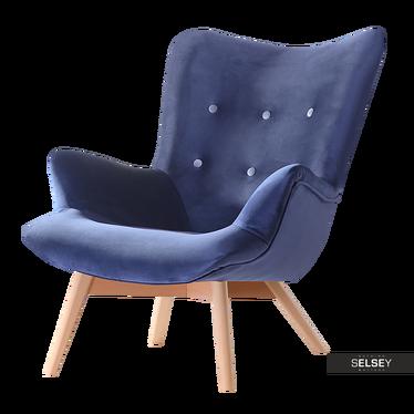 Sessel FLORIALLE dunkelblau/Buche mit Steppung