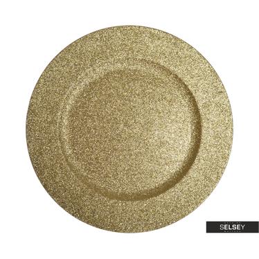 Dekoteller GOLD mit Brokat 33 cm