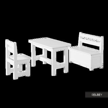 Kindersitzgruppe BUNTI Tisch mit Stuhl und Sitzbank mit Stauraum