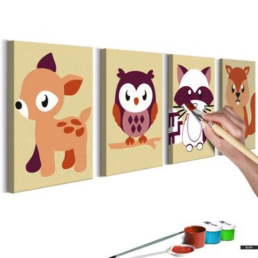 Malen nach Zahlen 4er Set WALDTIERE 44x16,5 cm
