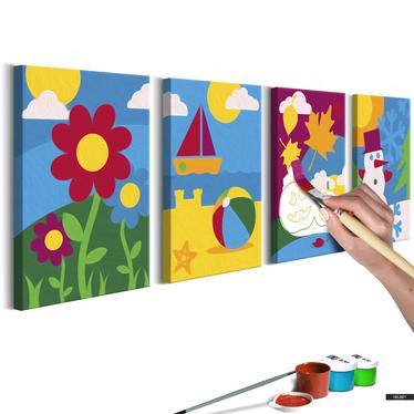 Malen nach Zahlen 4er Set JAHRESZEITEN 44x16,5 cm