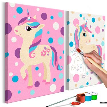 Malen nach Zahlen 2er Set EINHÖRNER pastell 33x23 cm