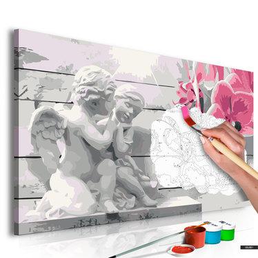 Malen nach Zahlen ENGEL UND ROSA ORCHIDEEN 60x40 cm